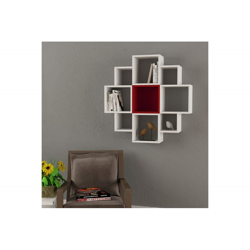 "Pαφιέρα τοίχου ""FIORE"" σε χρώμα λευκό - σκούρο κόκκινο 93,5x22x93,5"