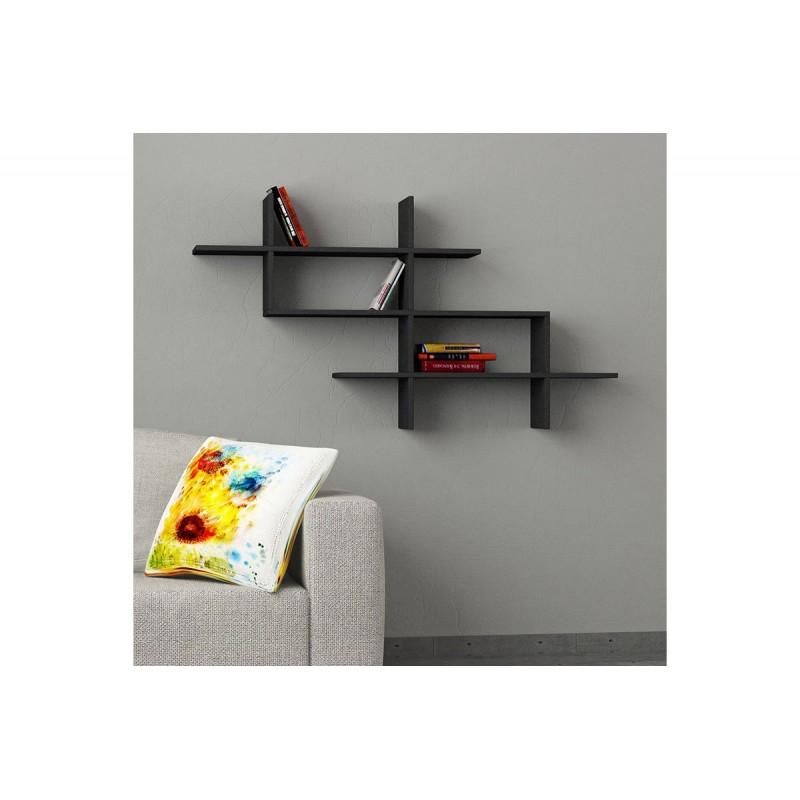 """Ραφιέρα τοίχου-βιβλιοθήκη """"HALIC"""" σε χρώμα ανθρακί 150x22x82"""