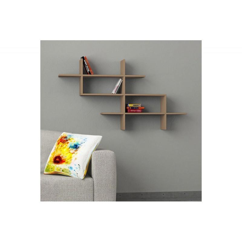"""Ραφιέρα τοίχου-βιβλιοθήκη """"HALIC"""" σε χρώμα μόκα 150x22x82"""