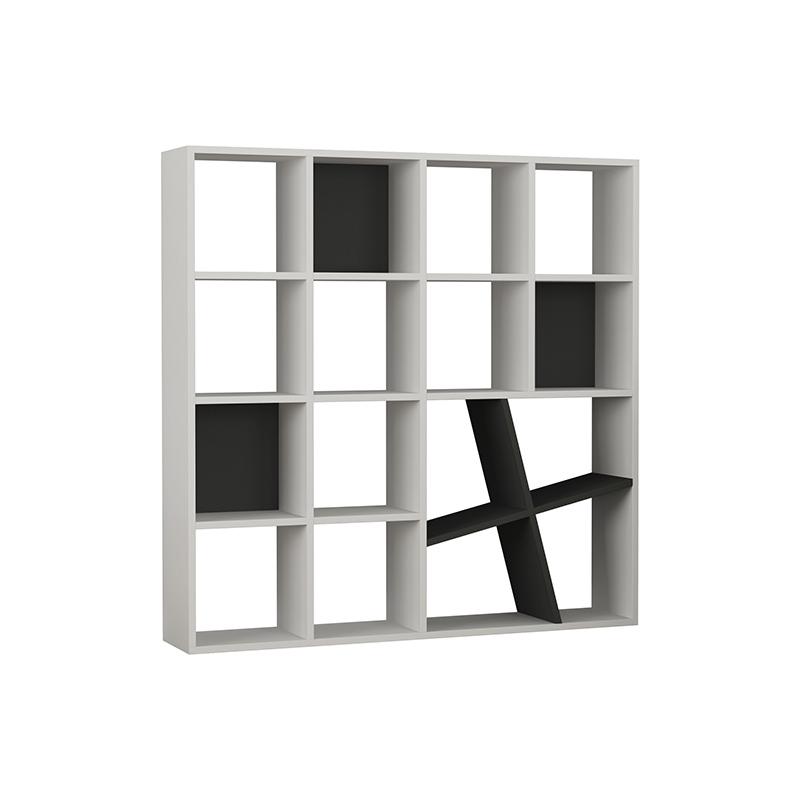 "Bιβλιοθήκη ""HONEY"" σε χρώμα λευκό - ανθρακί 125x24x125"