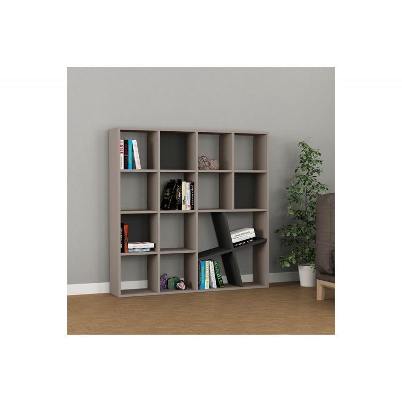 """Bιβλιοθήκη """"HONEY"""" σε χρώμα μόκα - ανθρακί 125x24x125"""