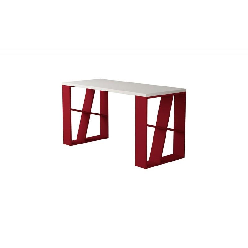 """Γραφείο """"HONEY"""" χρώμα λευκό-σκούρο κόκκινο 140x60x75"""