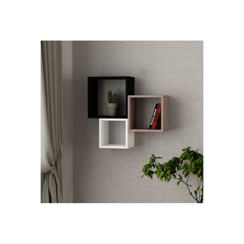 """Ραφιέρα τοίχου """"KUTUGEN"""" σε χρώμα ανθρακί-μόκα-λευκό 65x20x60"""