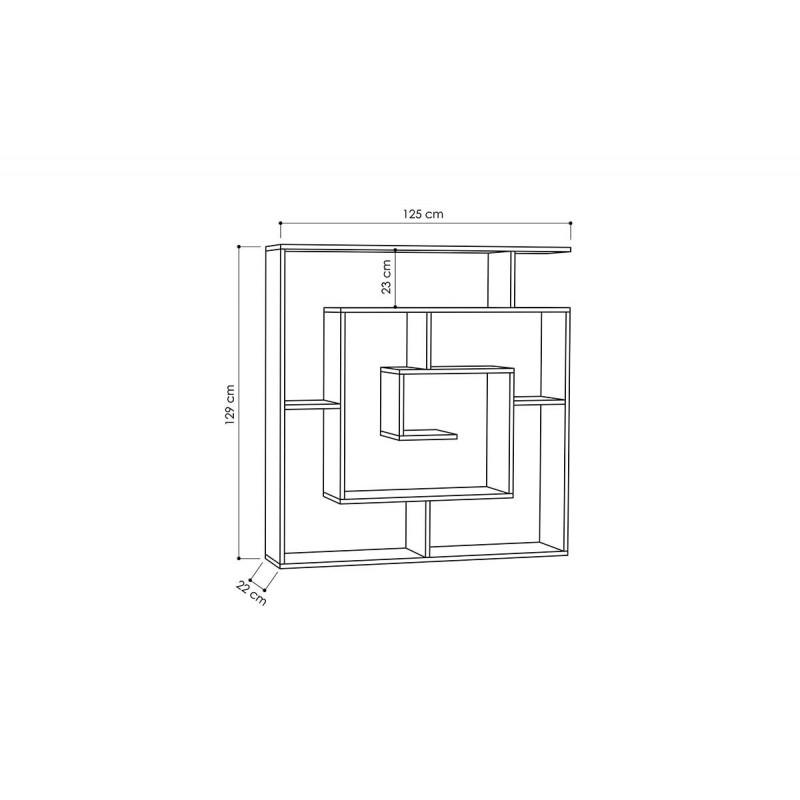 """Βιβλιοθήκη """"LABIRENT"""" σε χρώμα σκούρο δρυς 125x22x129"""