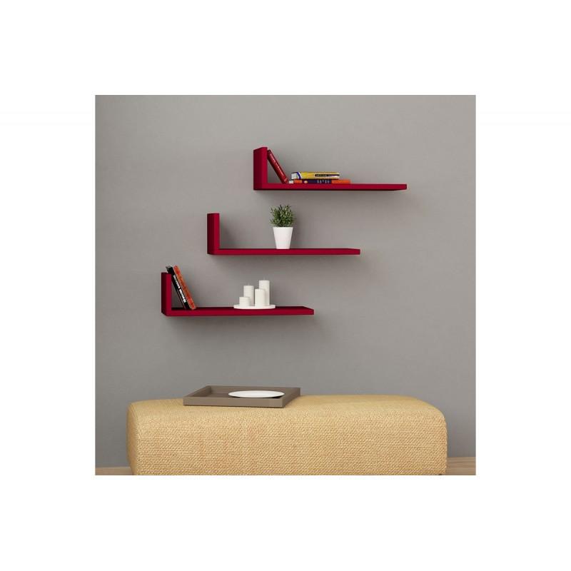 """Ραφιέρα τοίχου """"L-MODEL"""" σε χρώμα κόκκινο 50x20x14"""