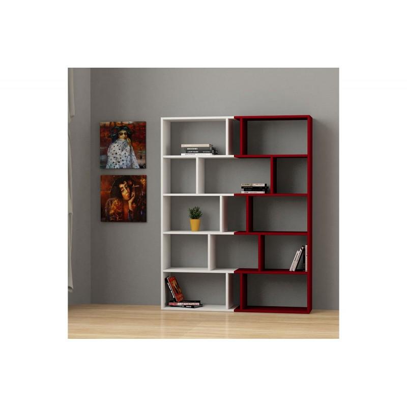 """Βιβλιοθήκη """"TAPI"""" σε χρώμα λευκό-σκούρο κόκκινο 124x28x161"""