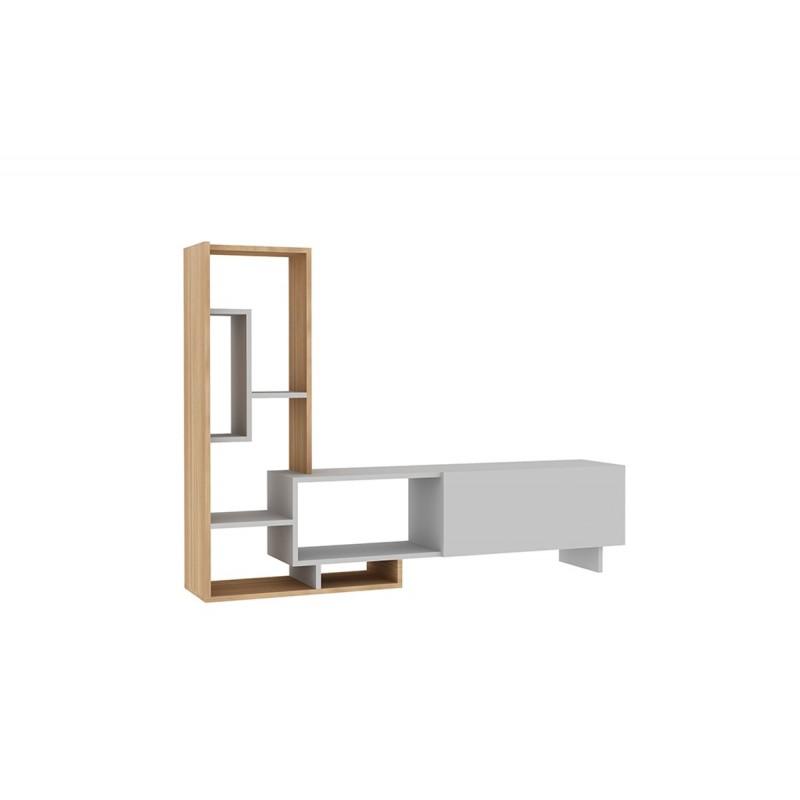 """Σύνθεση σαλονιού """"PEGAI"""" σε  χρώμα λευκό-teak 160x29,5x120"""