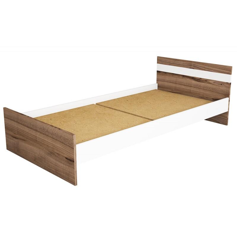 """Κρεβάτι """"SWAN"""" μονό σε χρώμα καρυδί με λευκό 94x194x60"""