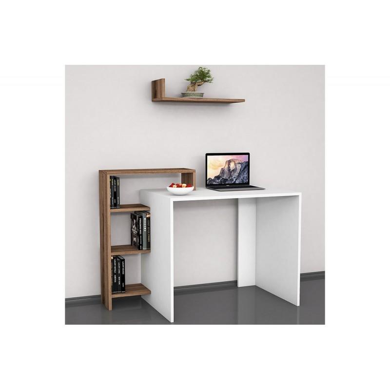 """Γραφείο """"SWAN"""" σε χρώμα λευκό με καρυδί 118x60x90,8"""