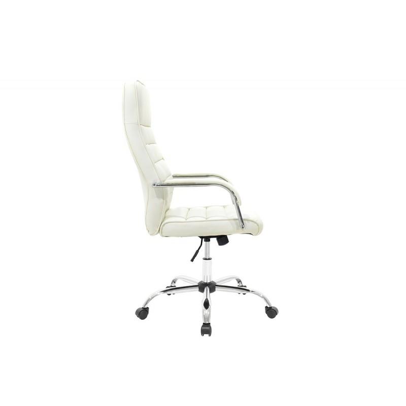 """Πολυθρόνα διευθυντή """"ALVARO"""" από τεχνόδερμα σε χρώμα λευκό 66x60x124"""