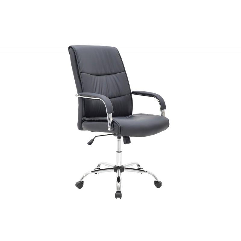 """Πολυθρόνα διευθυντή """"EDDY"""" από τεχνόδερμα σε χρώμα μαύρο 68x60x101"""