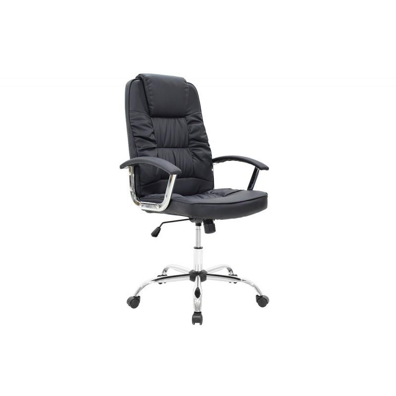"""Πολυθρόνα διευθυντή """"MATA"""" από τεχνόδερμα σε χρώμα μαύρο 66x64x110/120"""