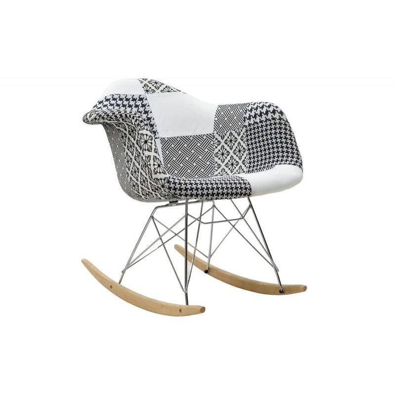 """Πολυθρόνα """"JULITA"""" κουνιστή με ύφασμα patchwork μαύρο-λευκό 69x62x69"""
