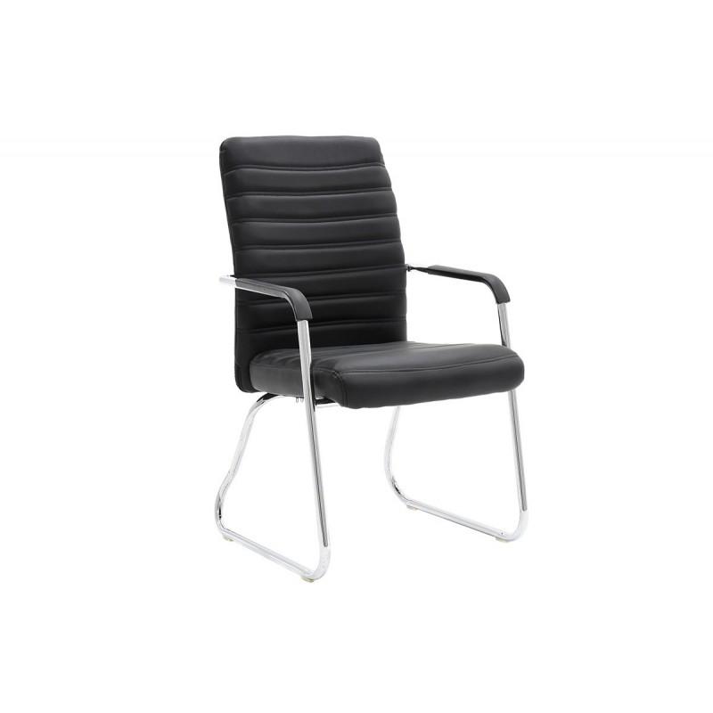 """Πολυθρόνα επισκέπτη """"ARON"""" από τεχνόδερμα σε χρώμα μαύρο 54x66x95"""
