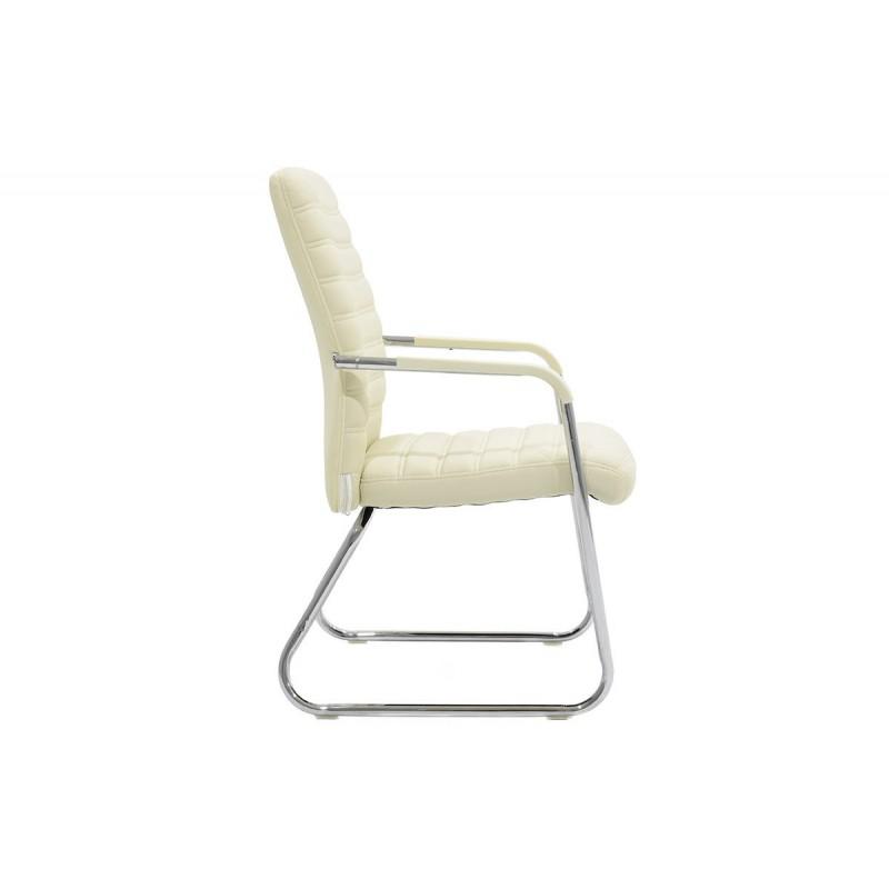 """Πολυθρόνα επισκέπτη """"ARON"""" από τεχνόδερμα σε χρώμα εκρού 54x66x95"""