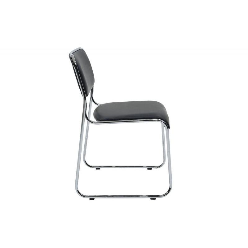 """Καρέκλα επισκέπτη """"CORINA"""" με τεχνόδερμα σε χρώμα μαύρο 52x46x76"""