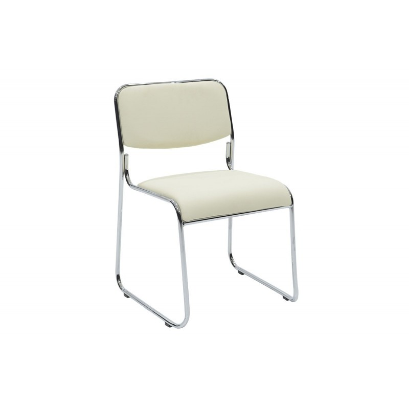 """Καρέκλα επισκέπτη """"CORINA"""" με τεχνόδερμα σε χρώμα εκρού 52x46x76"""