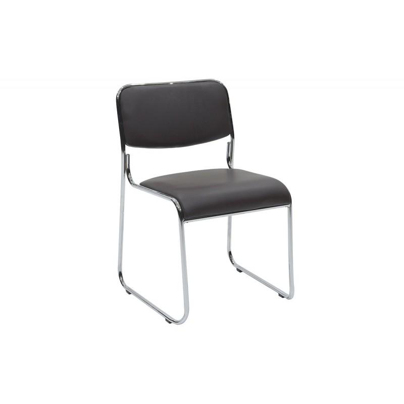 """Καρέκλα επισκέπτη """"CORINA"""" με τεχνόδερμα σε χρώμα καφέ 52x46x76"""