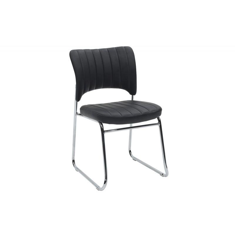 """Καρέκλα επισκέπτη """"EVELIA"""" από τεχνόδερμα σε χρώμα μαύρο 44x54x82"""