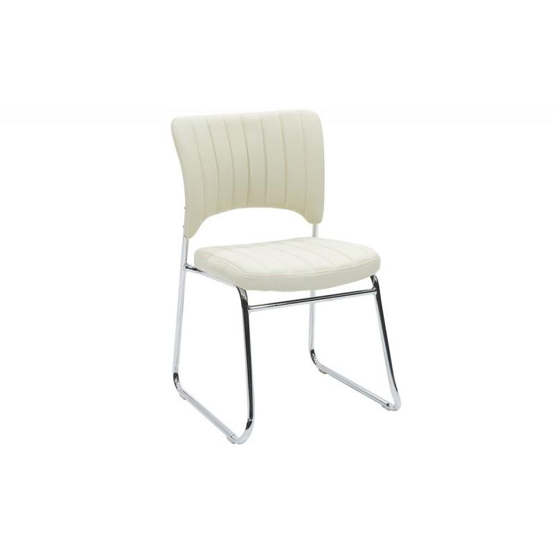 """Καρέκλα επισκέπτη """"EVELIA"""" από τεχνόδερμα σε χρώμα εκρού 44x54x82"""