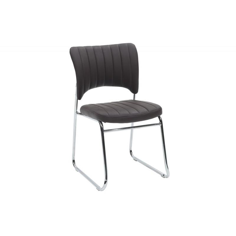 """Καρέκλα επισκέπτη """"EVELIA"""" από τεχνόδερμα σε χρώμα καφέ 44x54x82"""