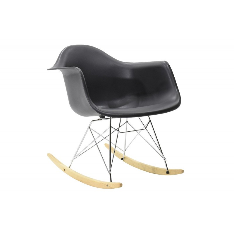 """Πολυθρόνα """"JULITA"""" κουνιστή από pp σε χρώμα μαύρο ματ 69x62x69"""