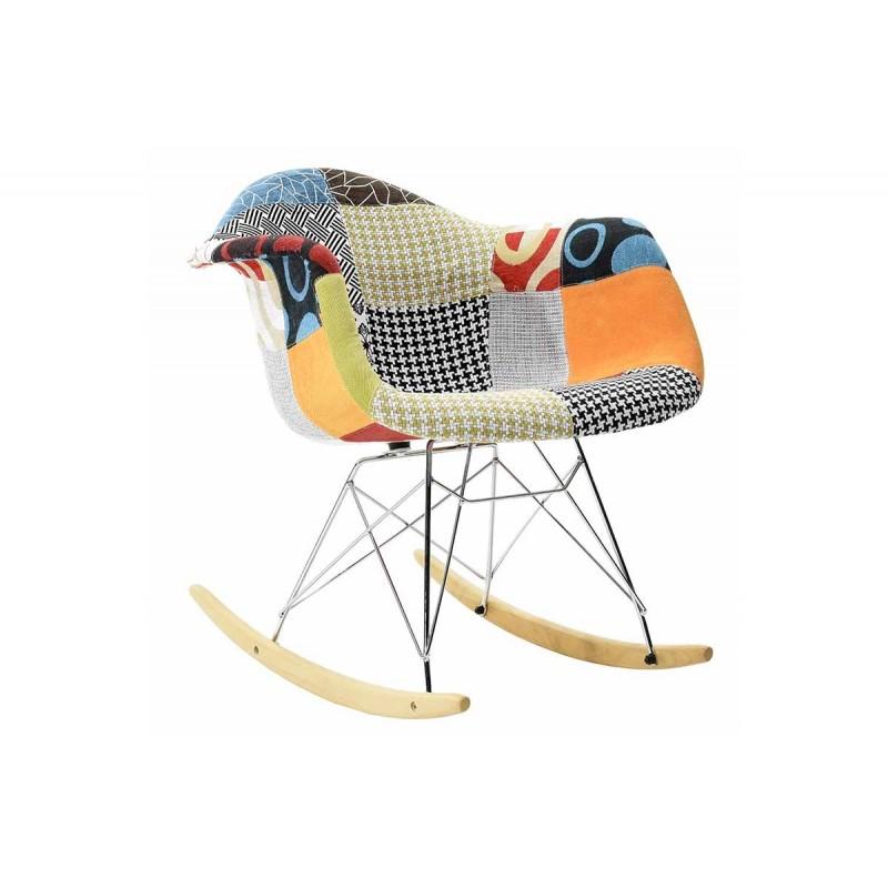 """Πολυθρόνα """"JULITA"""" κουνιστή με ύφασμα patchwork 69x62x69"""