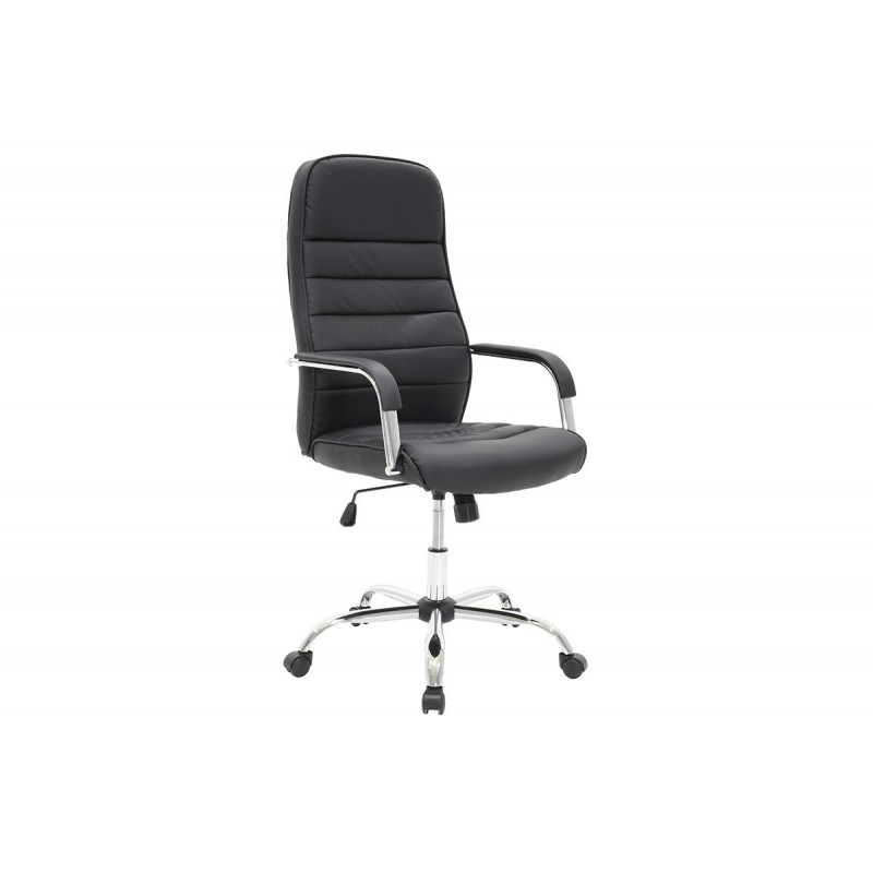 """Πολυθρόνα διευθυντή """"ALVARO"""" από τεχνόδερμα σε χρώμα μαύρο 66x60x124"""
