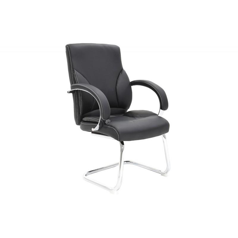 """Πολυθρόνα επισκέπτη """"FILIPPO"""" με τεχνοδερμα σε χρώμα μαύρο 68x64x101"""
