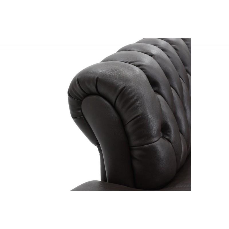 Ανάκλινδρο τύπου chesterfield από τεχνόδερμα σε χρώμα σκούρο καφέ 194x84x88
