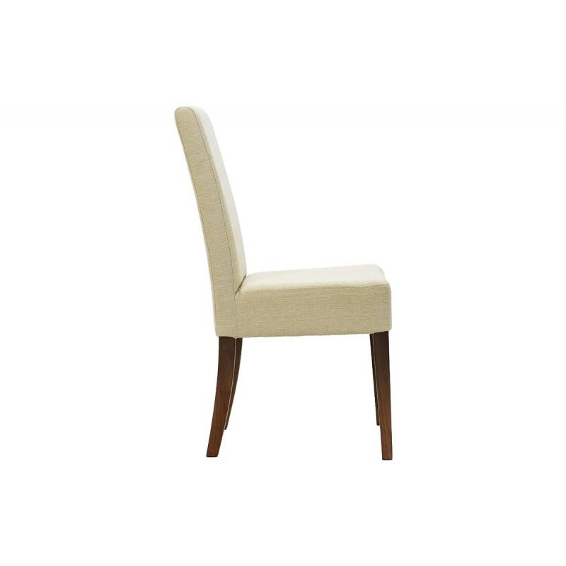 """Καρέκλα """"DITTA"""" από μασίφ ξύλο και ύφασμα σε χρώμα μπεζ 44x45x96"""