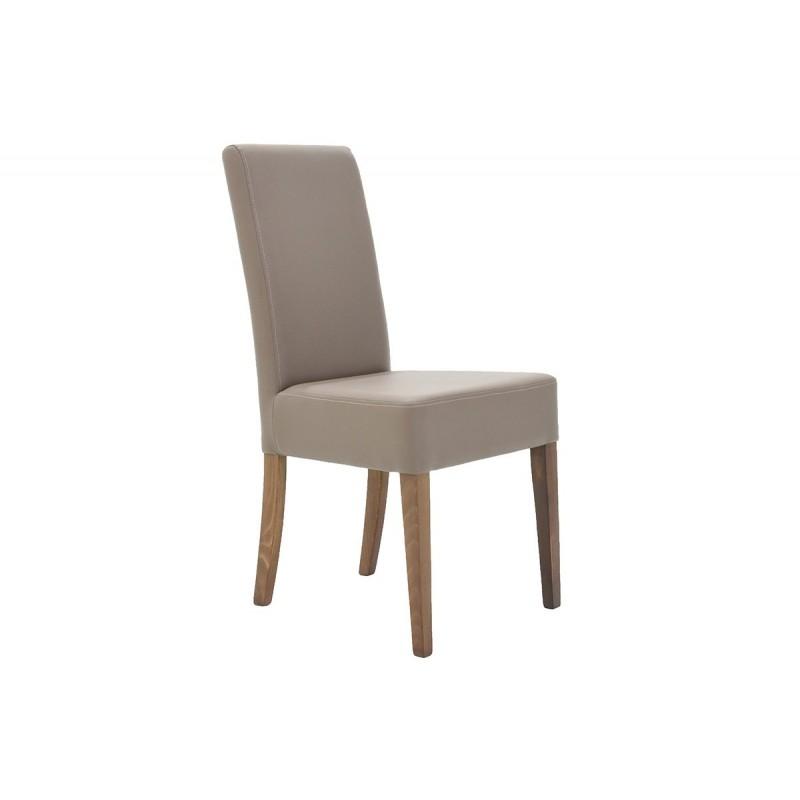"""Καρέκλα """"DITTA"""" απο μασίφ ξύλο και τεχνόδερμα σε χρώμα μόκα 44x45x96"""