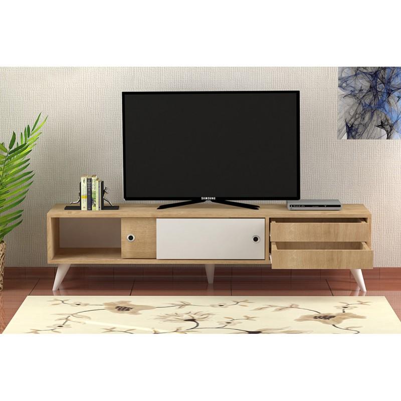 """Έπιπλο τηλεόρασης 'EDUARO"""" σε χρώμα φυσικό-λευκό 160x40x40"""