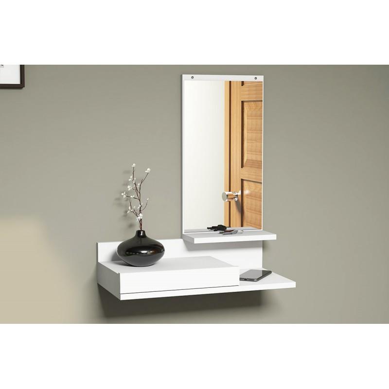 """Κονσόλα τοίχου """"MODE COAT"""" με καθρέφτη λευκό χρώμα 60x30x80"""