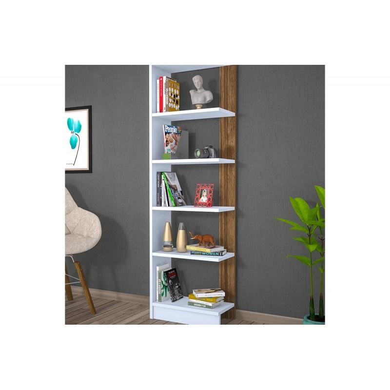"""Βιβλιοθήκη """"PUPIS"""" σε χρώμα λευκό-καρυδί 45x22x170"""