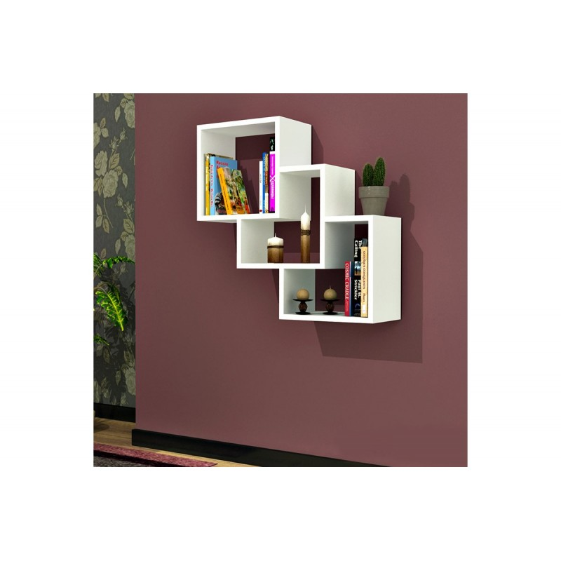 """Ραφιέρα τοίχου """"ΤREE BOX"""" σε χρώμα λευκό  57,9x19,5x57,7"""
