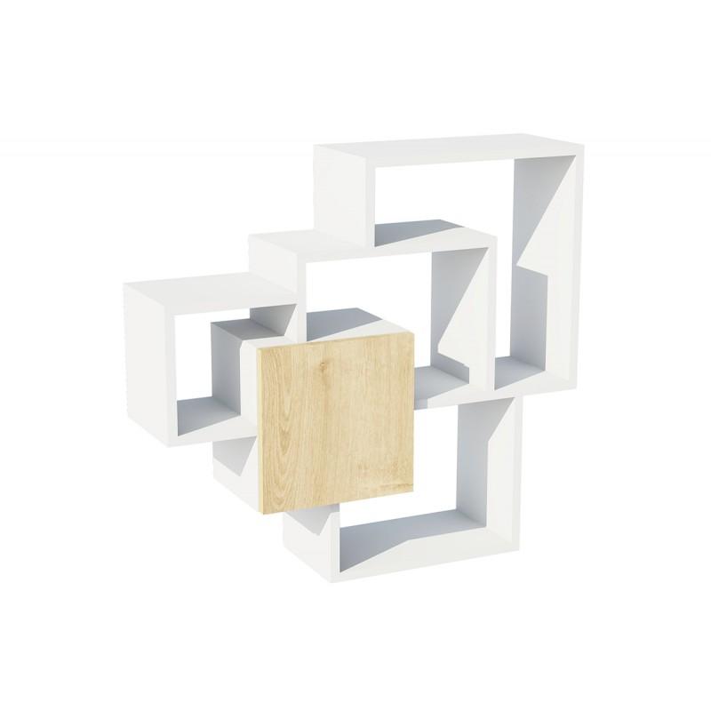 """Ραφιέρα τοίχου """"SWEET"""" σε χρώμα λευκό-φυσικό 80x22x50"""