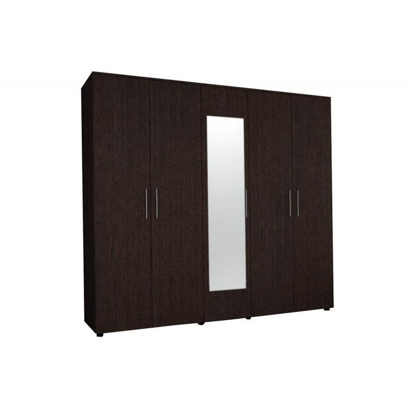 """Ντουλάπα """"LUNA"""" πεντάφυλλη  με καθρέφτη σε χρώμα βέγγε 220x52x200"""
