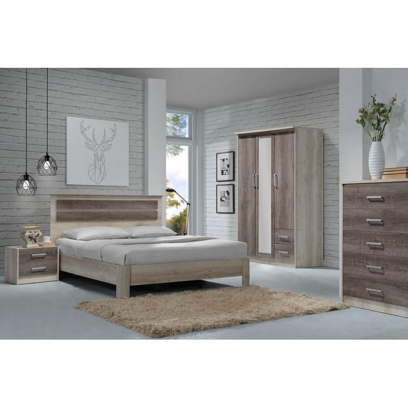 """Κρεβάτι """"OLYMPUS"""" διπλό σε χρώμα castillo-toro δρυς 203x167.5x102"""
