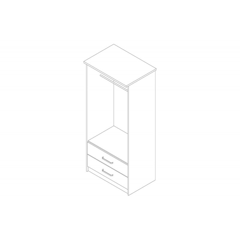 """Ντουλάπα """"OLYMPUS"""" δίφυλλη σε χρώμα castillo-toro δρυς 81x57x183"""