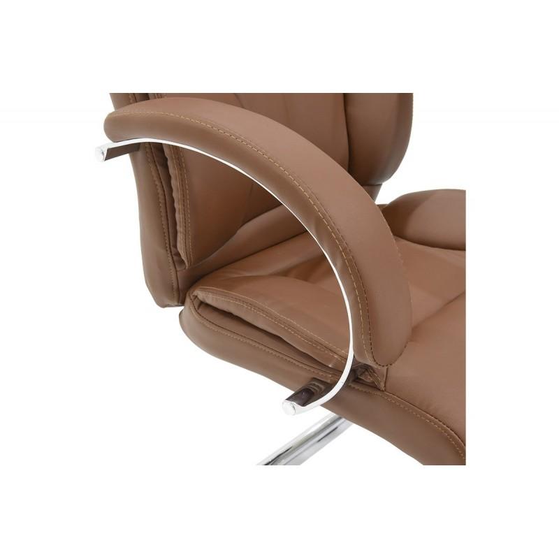 """Πολυθρόνα επισκέπτη """"FILIPPO"""" με τεχνοδερμα σε χρώμα καφέ 68x64x101"""