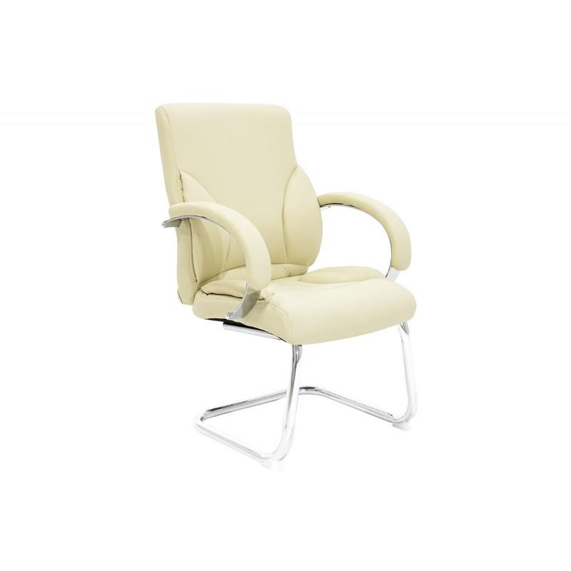 """Πολυθρόνα επισκέπτη """"FILIPPO"""" με τεχνοδερμα σε χρώμα εκρού 68x64x101"""