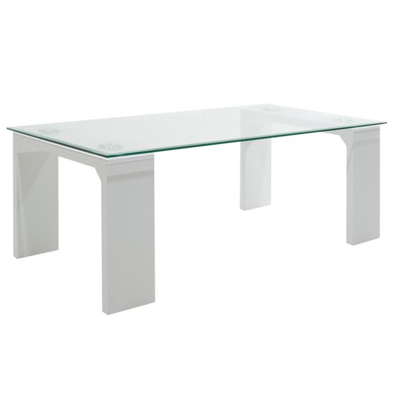 """Τραπεζάκι σαλονιού """"GLASS LINE"""" γυάλινo σε χρώμα λευκό 100x60x42,5"""