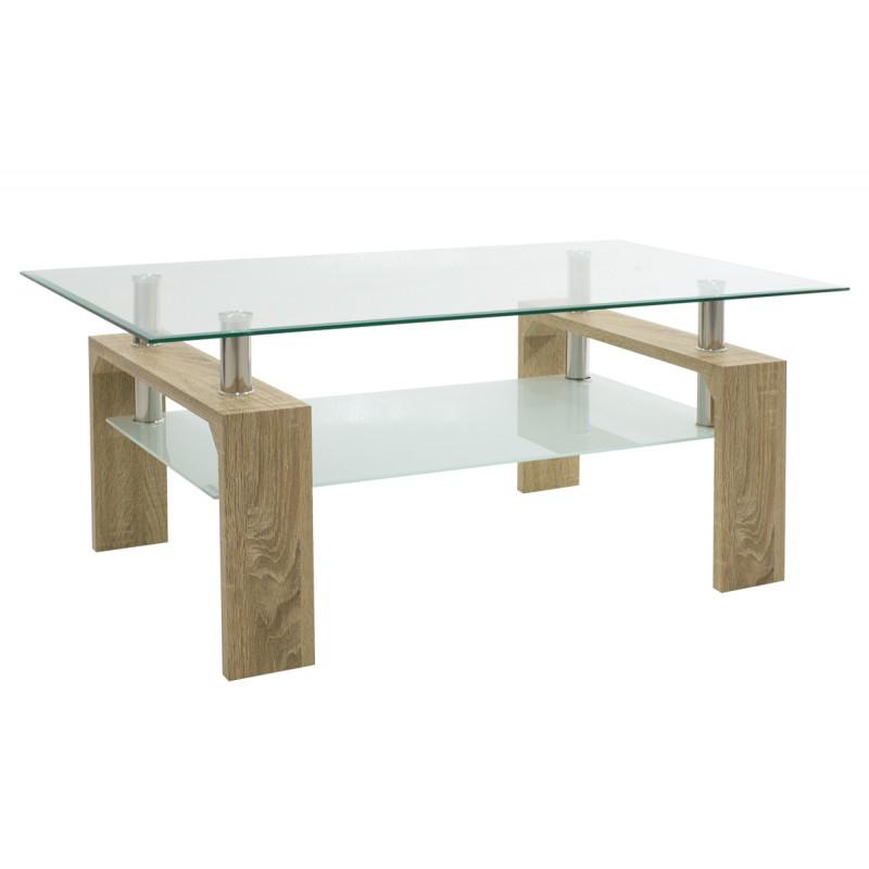 """Τραπέζι σαλονιού """"MAIHA"""" γυάλινο σε σονόμα χρώμα 100x60x42,5"""