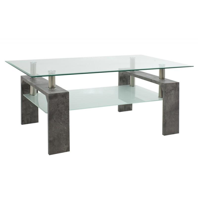 """Τραπέζι σαλονιού """"MAIHA"""" γυάλινο σε χρώμα γκρι cement 100x60x42,5"""