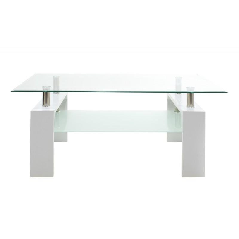 """Τραπέζι σαλονιού """"MAIHA"""" γυάλινο σε λευκό χρώμα 100x60x42,5"""