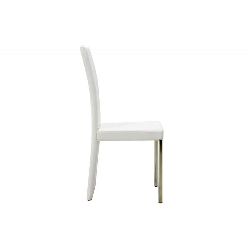 """Καρέκλα """"TINA"""" από τεχνόδερμα σε χρώμα λευκό 55x43x97"""