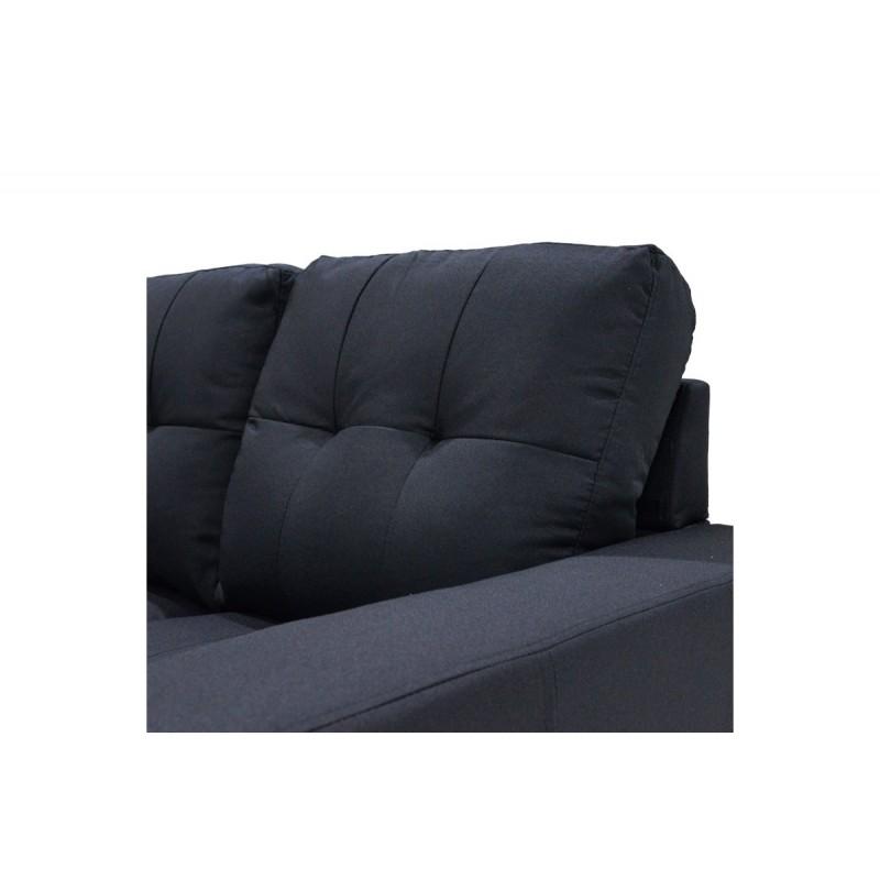 """Γωνιακός καναπές """"BETTY"""" αναστρέψιμος υφασμάτινος σε χρώμα μαύρο 200x160x90"""