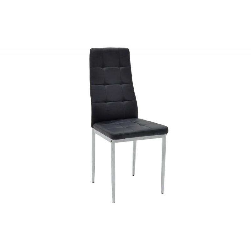 """Καρέκλα """"CUBE"""" μεταλλική από τεχνόδερμα σε χρώμα μαύρο 41x46x97"""