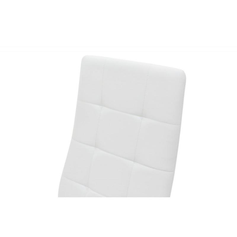 """Καρέκλα """"CUBE"""" μεταλλική από τεχνόδερμα σε χρώμα λευκό  41x46x97"""